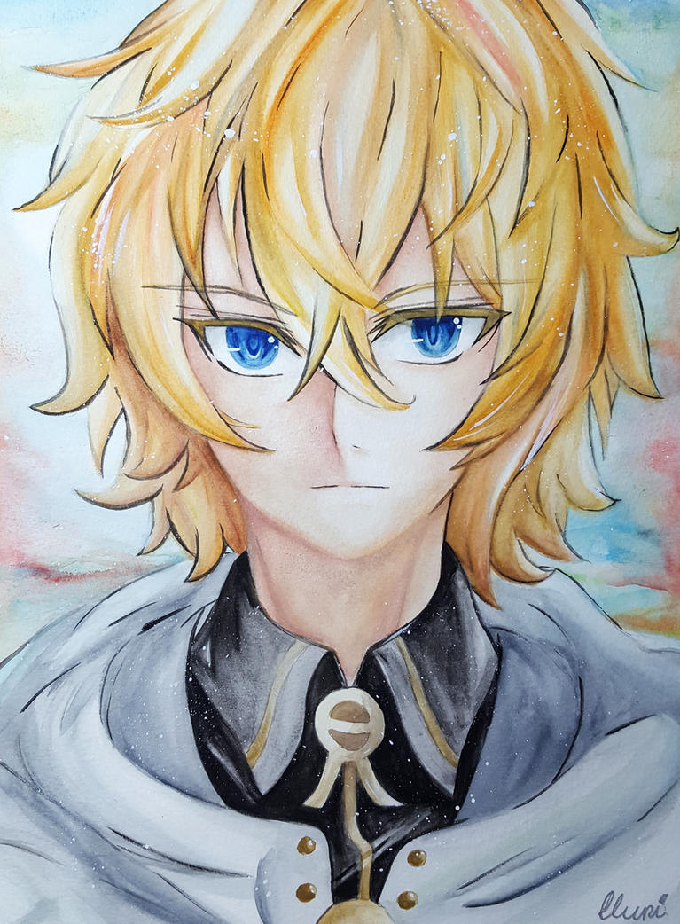 Mikaela Hyakuya ~ Watercolor Portrait by CrystalMelody-FT