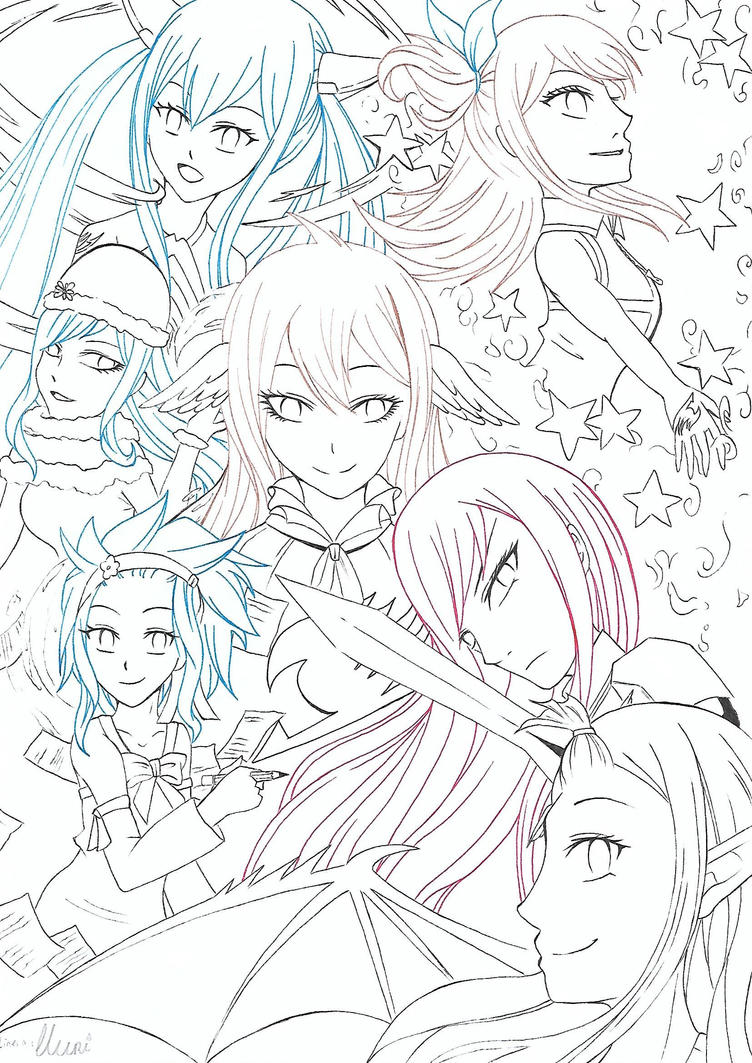 The Fairy (Tail) Girls ~ lineart by CrystalMelody-FT