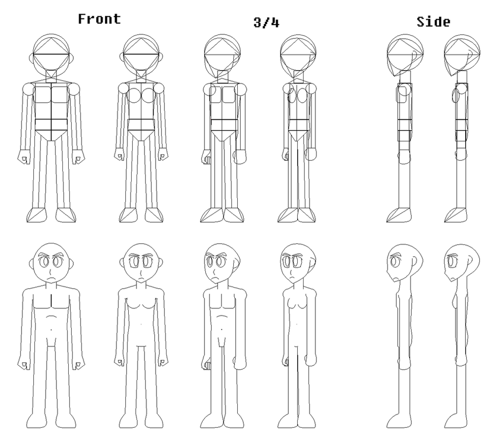Character Design Outline : Male and female character template by vonithipathachai on