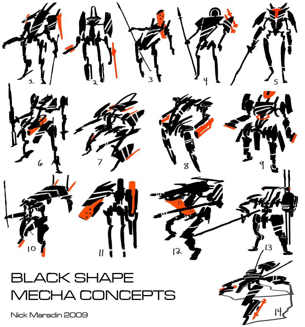 Black Shape Mecha Concepts by Nidaram