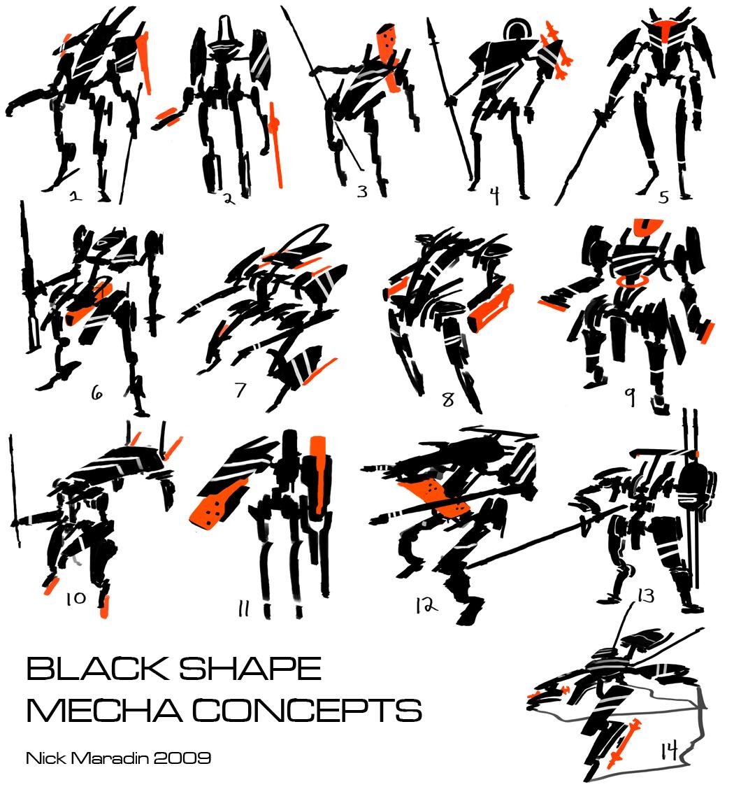 Black Shape Mecha Concepts by Nidaram