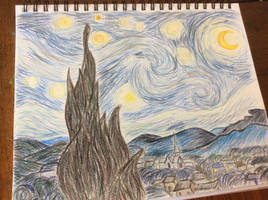Starry Night in colored pencil