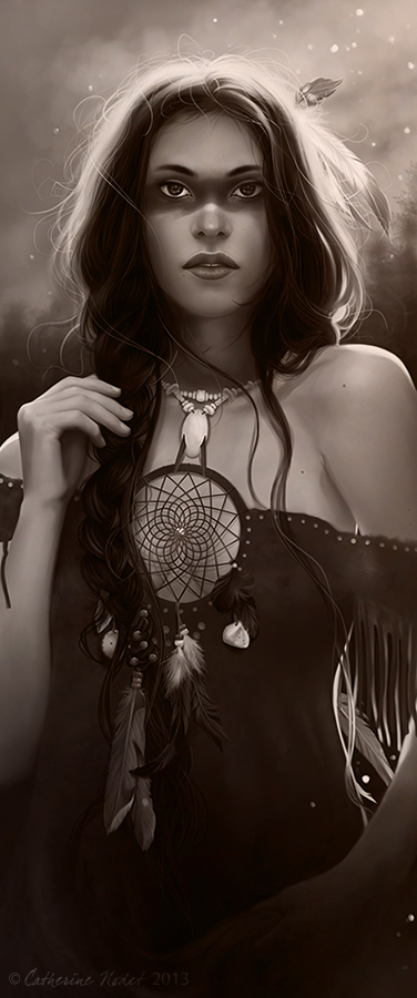Dreamcatcher black and white version by CatherineNodet