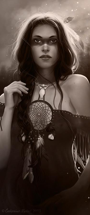 Dreamcatcher black and white version by CatherineNodet
