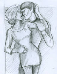 Spock and Chapel by HILLYMINNE