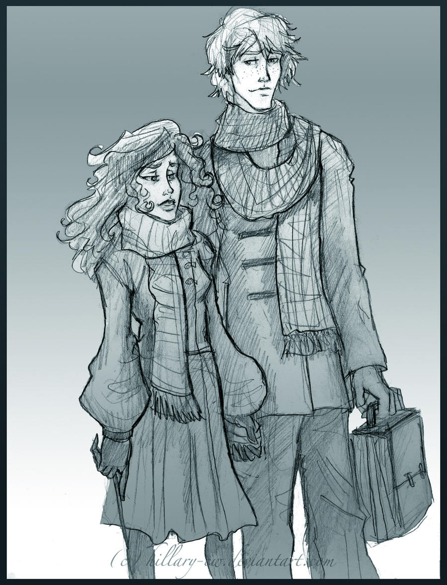 Ron and Hermione visiting by HILLYMINNE