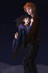 Ron carrying Hermione to Shell Cottage by HILLYMINNE