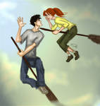 Harry and Ginny flying