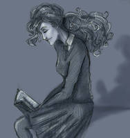 Hermione reading by HILLYMINNE