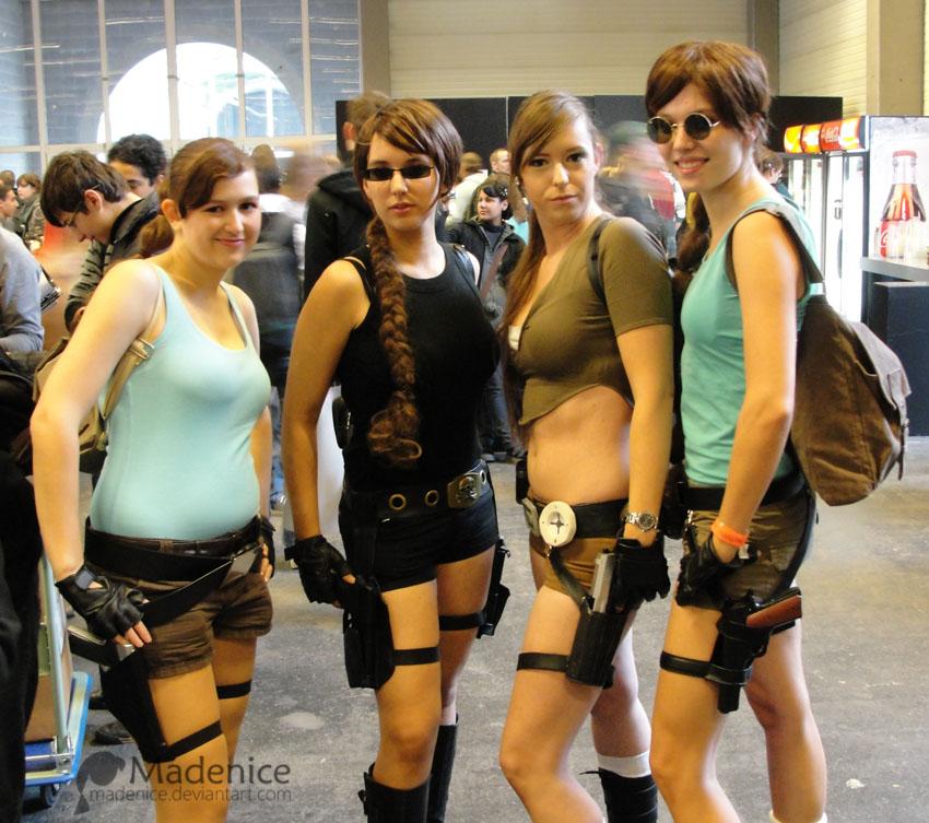 Four Lara Crofts