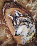 Wolf - Wood Slice Acrylic Painting