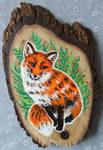 Sassy Fox - Wood Slice Acrylic Painting