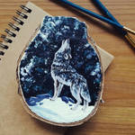 Howling Wolf - Wood Slice Acrylic Painting by devilguineapig