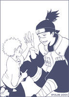 LINEART - Iruka and Naruto by telophase
