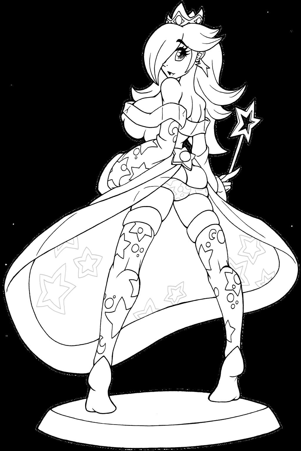 Princess Rosalina Coloring Pages : Amiibo princess rosalina lineart by hallowgazer on