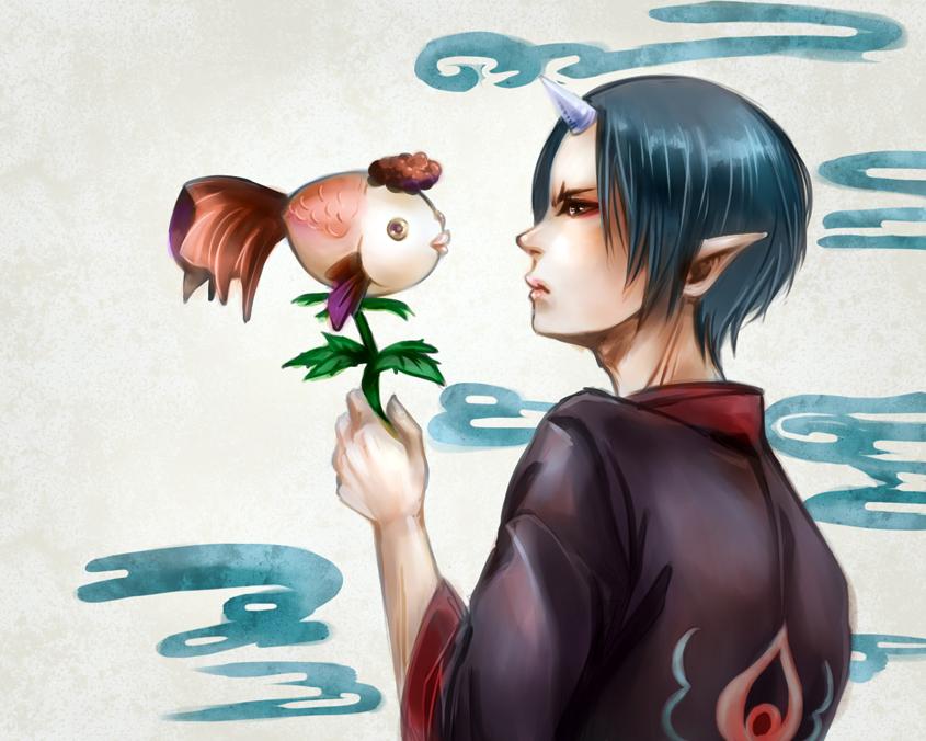 Houzuki_gold fish by Armelia