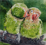 Original oil painting with parrots in love by MSamsonov