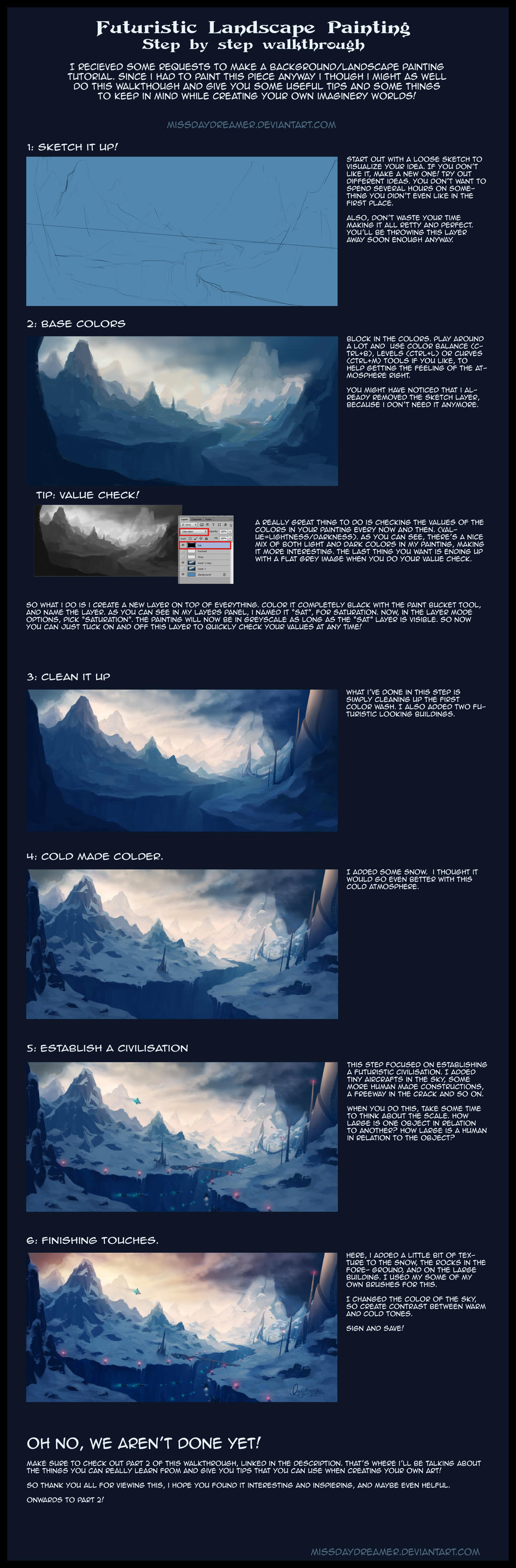 Futuristic Landscape Painting - Step By Step Part1 by Zanariya