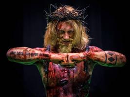 Iron Sky Jesus: Jukka Dudeson. Makeup: Ari Savonen