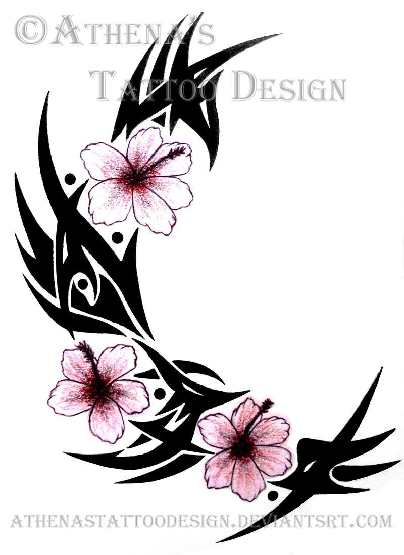 tribal hibiscus by athenastattoodesign on deviantart. Black Bedroom Furniture Sets. Home Design Ideas