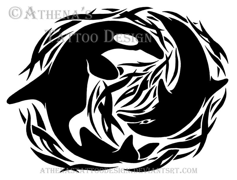 tribal orca and dolphin by athenastattoodesign on deviantart. Black Bedroom Furniture Sets. Home Design Ideas
