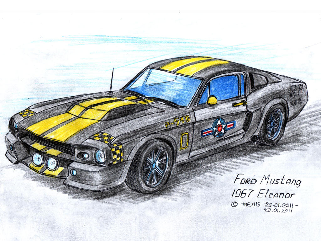 Ford Mustang 67 1967 Convertible Drawing Gifts