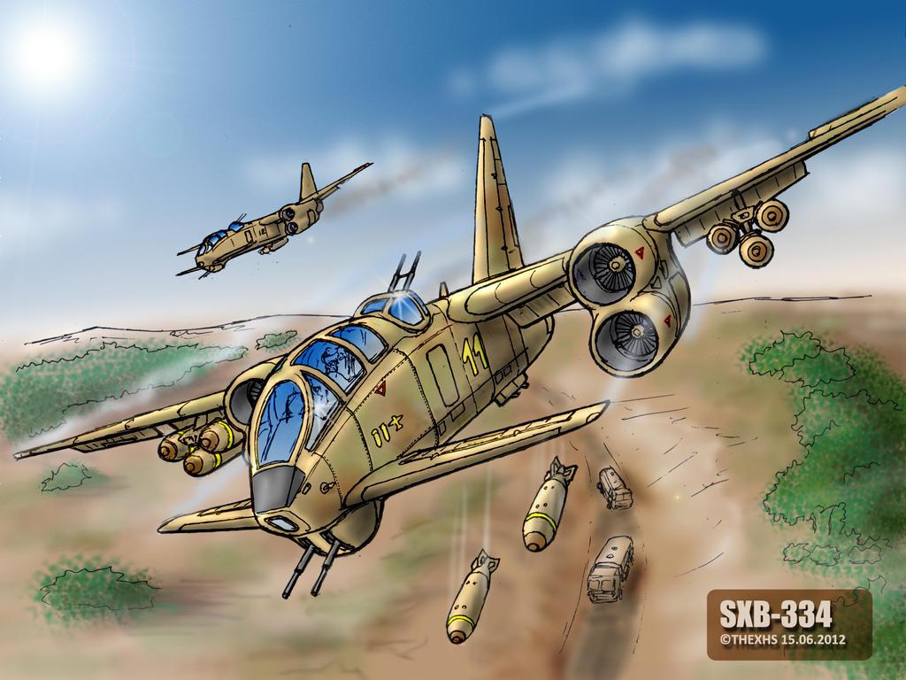 SXB-334 in flight - digital art by TheXHS