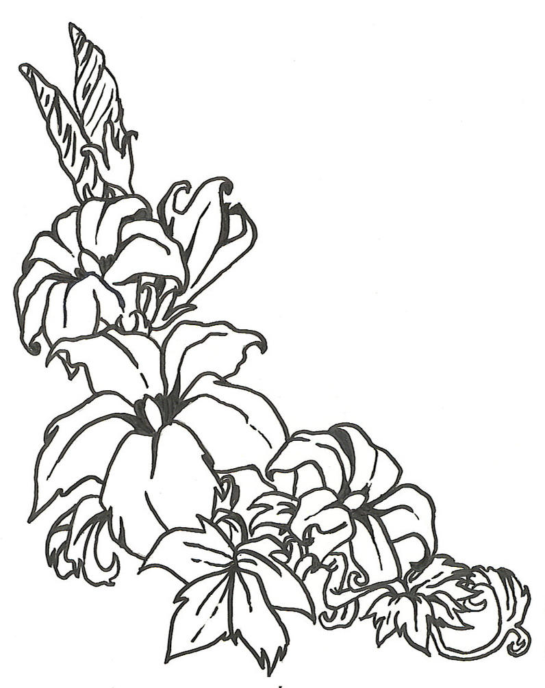 Line Art Flowers : Floral lineart by silversharingan on deviantart