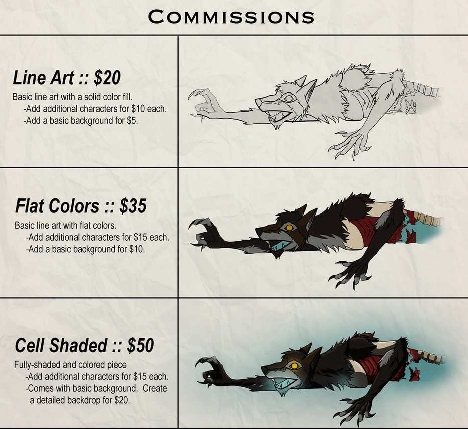 Commissions Prices by SquareZer0