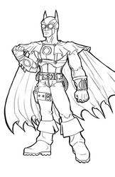 Steampunk Batman (uncolored) by evolra