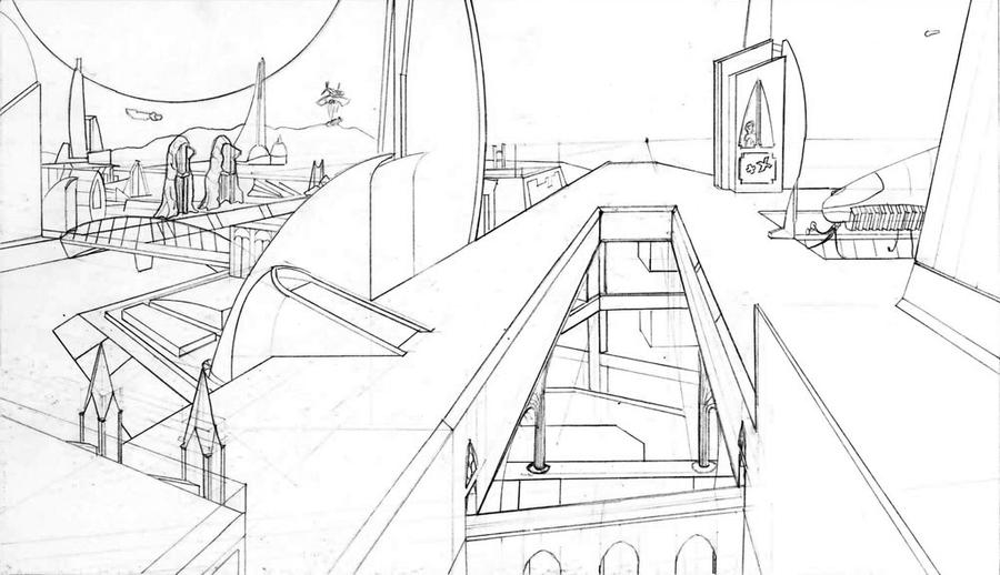 Line Drawing City : Hnc work city line drawing by shrinking universe on