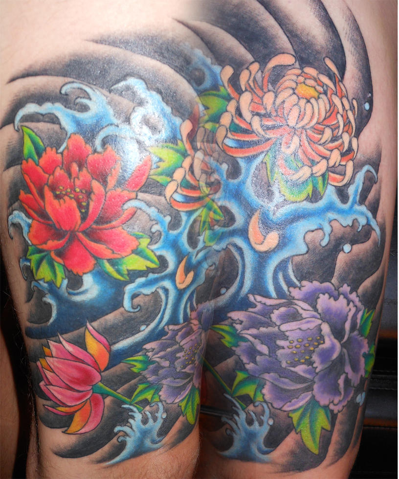 Japanese Flowers And Waves Tattoo By Bjorkmario On DeviantArt