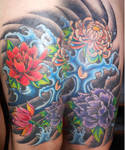 Japanese Flowers and waves tattoo