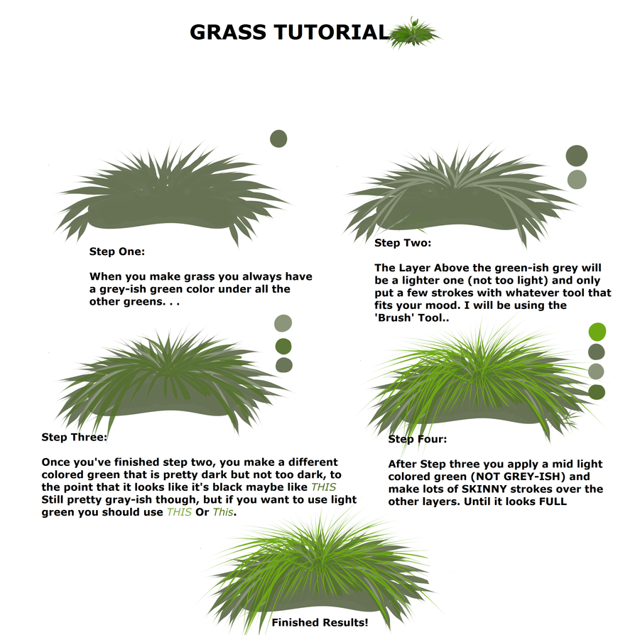 SIMPLE GRASS TUTORIAL FOR PAINT TOOL SAI USERS by MarleyButt on