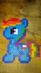 Rainbow Dash chibi: perler bead art by Amazair