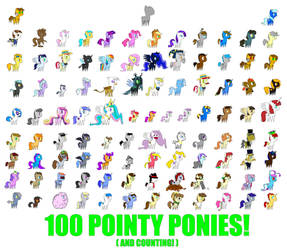 100 Pointy Ponies by CogWeaver