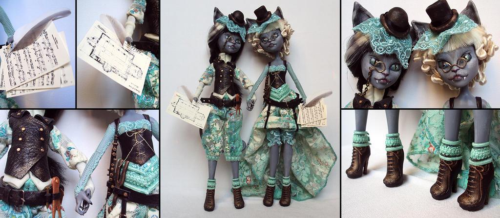 Cat sisters - Purrsephone and Meowlody custom by fuchskauz