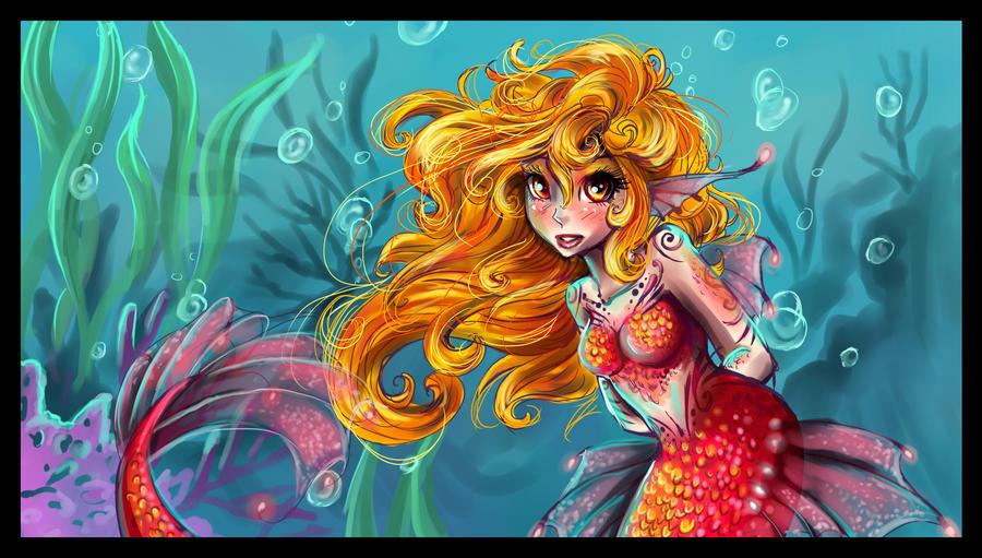 Pink Mermaid by sharkie19