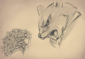 Merida and the Bear by sharkie19