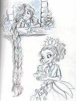 Rapunzel and Tiana by sharkie19