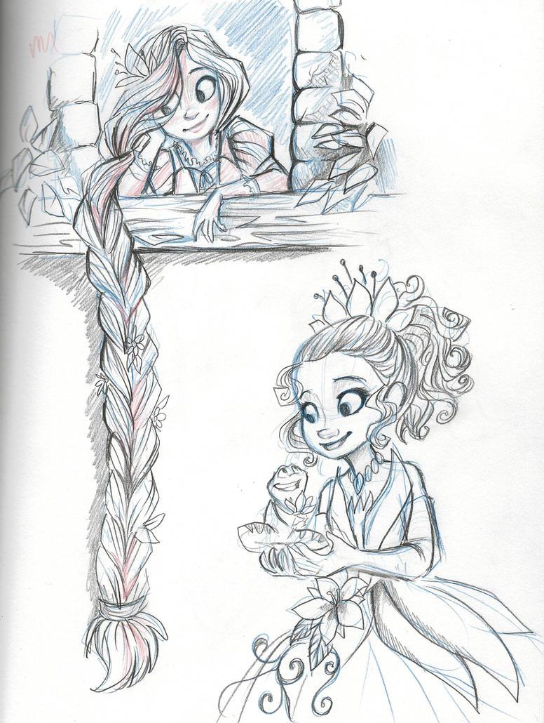 Rapunzel And Tiana By Sharkie19 On DeviantArt