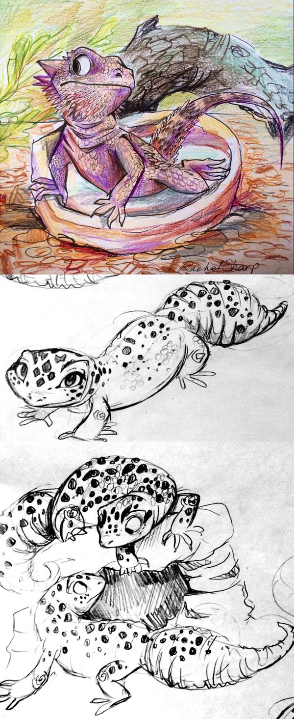Bearded Dragon and Leopard Geckos by sharkie19