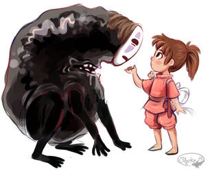 No-Face and Chihiro by sharkie19