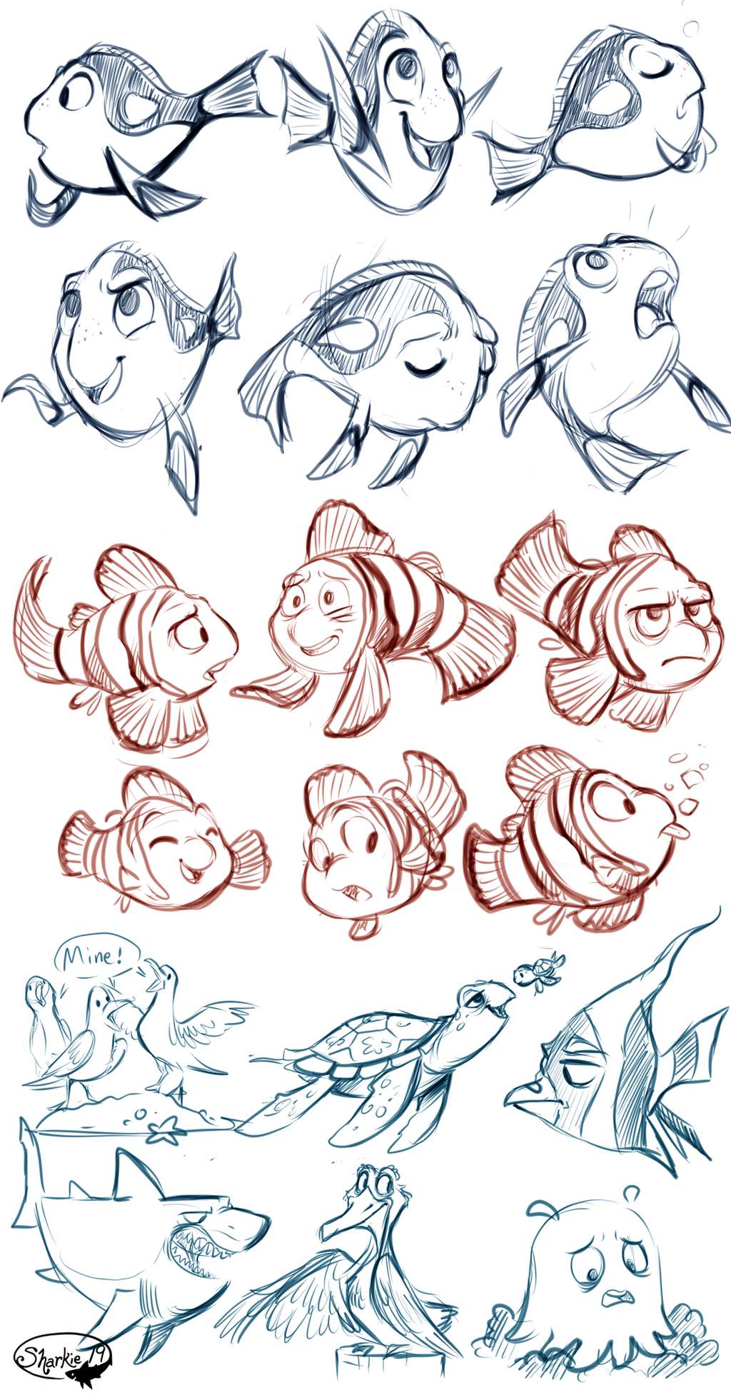 Character Design Quotes : Finding nemo sketches by sharkie on deviantart