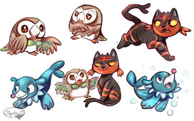 Sun and Moon Starters by sharkie19