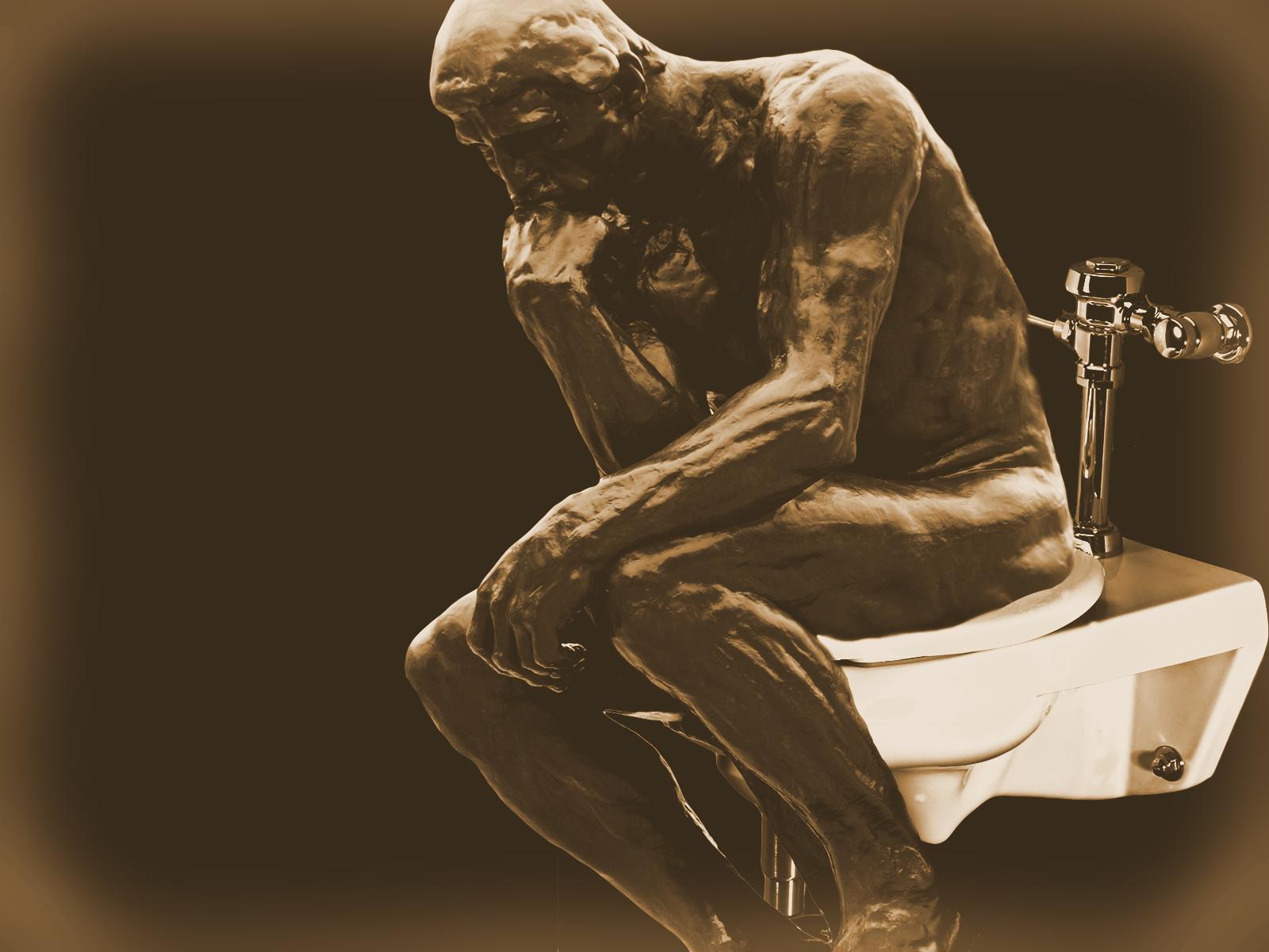 The Thinker On The John by MrAngryDog