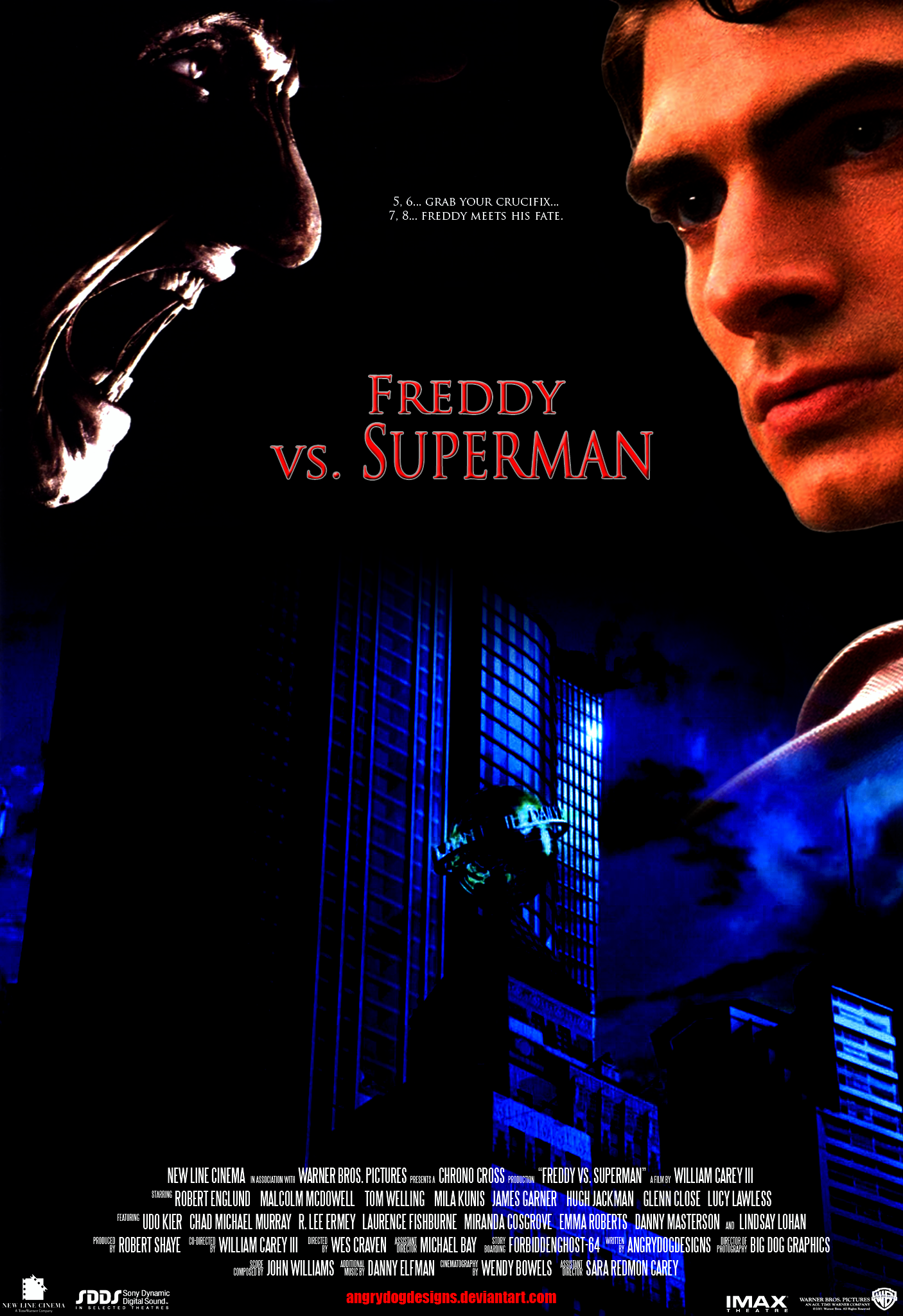Freddy Vs. Superman Final Draft Poster by MrAngryDog