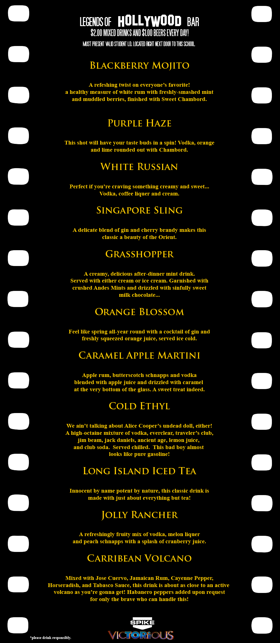 Legends of Hollywood Drink Menu by MrAngryDog