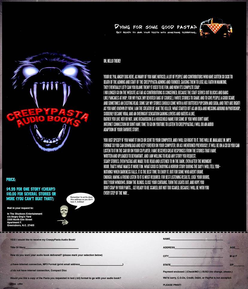 CreepyPasta Audiobooks Order Form by FearOfTheBlackWolf on DeviantArt
