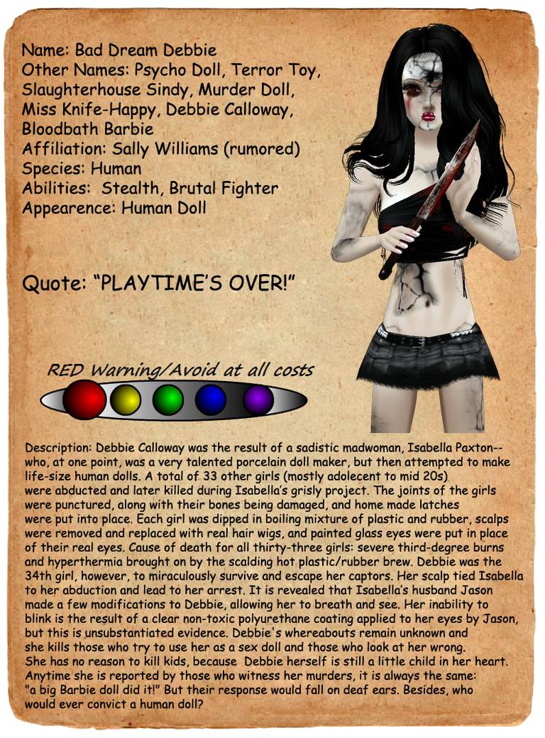 Creepypasta Journal Entries: Bad Dream Debbie by FearOfTheBlackWolf